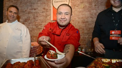 PHOTO: Carmines served their special Meatball during the Wine and Food Festival's Meatball Madness, New York City, Oct. 12, 2012.
