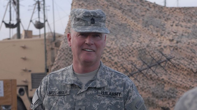 PHOTO:&nbsp;Command Sgt. Maj. Jeffrey Mellinger is the only active duty army soldier that was drafted and is still serving. At 58, he is now about to retire.
