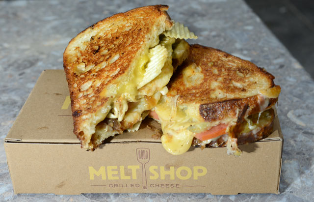 PHOTO: The Dirty grilled cheese features pepper jack cheese with caramelized onions, pickled jalapenos and is topped with crunchy potato chips, and served on sourdough bread in New York City, Oct. 4, 2012.