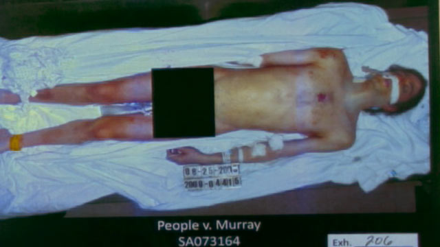 PHOTO: A photo of Michael Jackson post mortem is shown, after being presented as evidence during the Conrad Murray trial, Oct. 11, 2011.