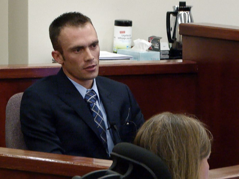 PHOTO: Michele Williams son Andrew OBrien is seen on the stand testifying for the prosecution at his mothers murder trial.