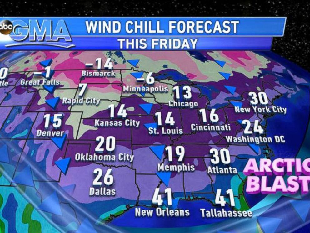 PHOTO: A cold blast will even reach Texas and the Gulf Coast.