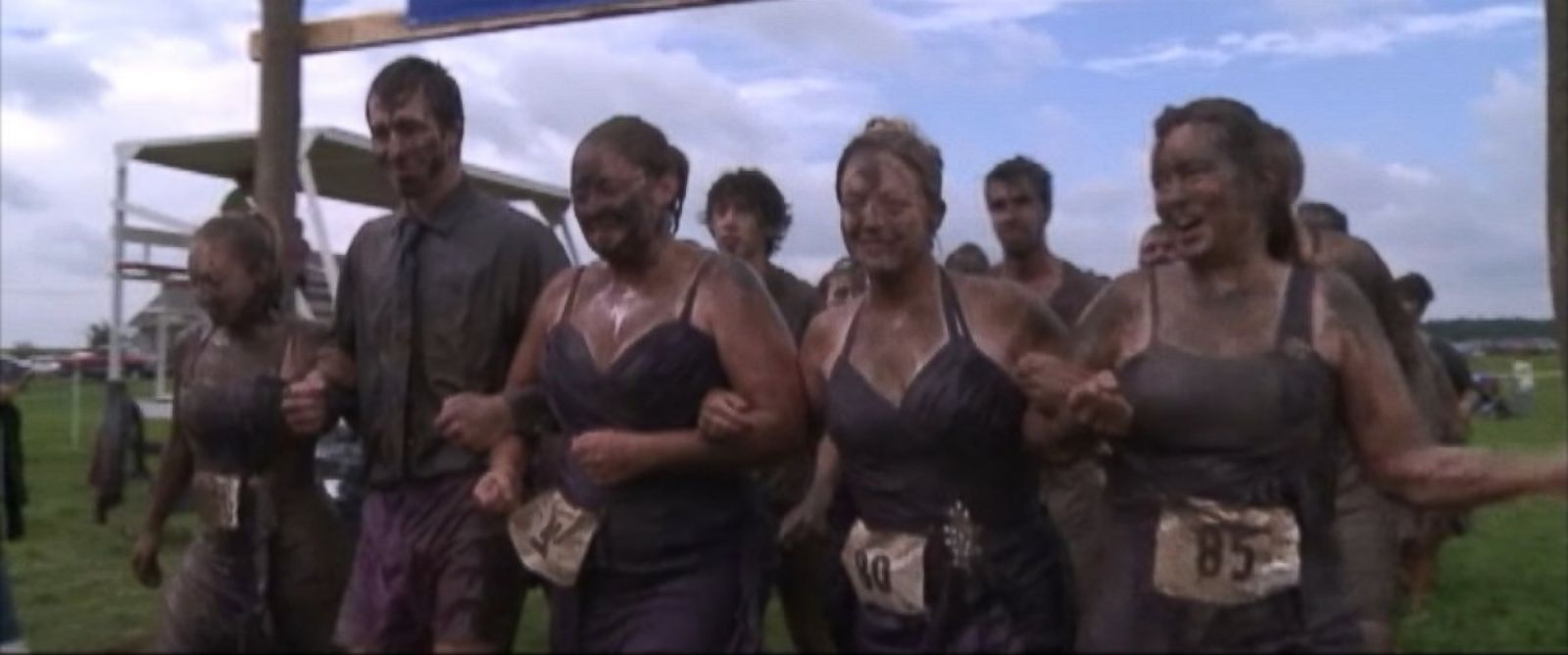 PHOTO: This film grab shows the four Hall sisters finishing the Udder Mudder race in honor of their sister, Shannon Hall, on Sept. 20, 2014.