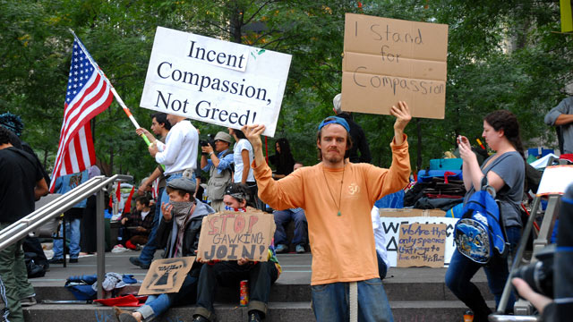 PHOTO: Demonstrators continue to Occupy Wall Street, Zuc