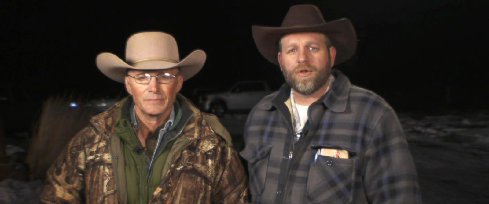 "PHOTO: Lavoy Finicum and Ammon Bundy speak with ""Good Morning America"" on Jan. 4, 2016 from the Malheur National Wildlife Refuge facility near Burns, Ore."