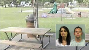 Video: Couple caught having sex on a picnic table charged with public lewdness.