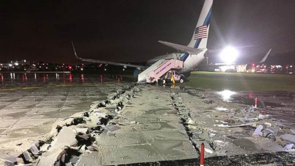 Trump vice-president candidate Pence's plane skids off runway in rainstorm