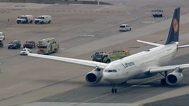 PHOTO: A Lufthansa Airbus A330 and a United Express commuter plane collided on a taxiway at Dulles, Aug. 10, 2012.