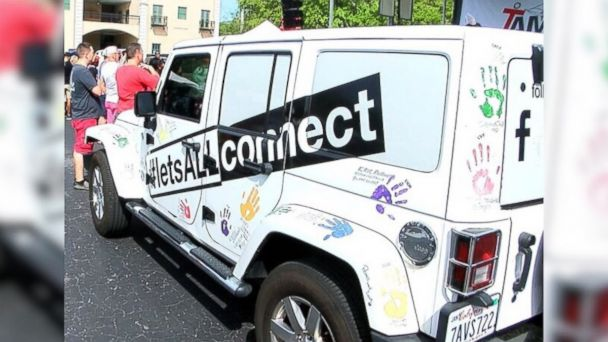 PHOTO: Two men from France are travelling across the U.S. in this Jeep with a message of hope and unity, inspired, in part, by the Pulse Nightclub massacre. Here, the Jeep at Tampa Pride on March 25, 2017.