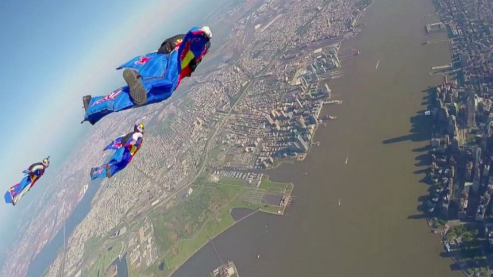 GoPro footage of the Red Bull event captures a birds-eye view of Manhattan.