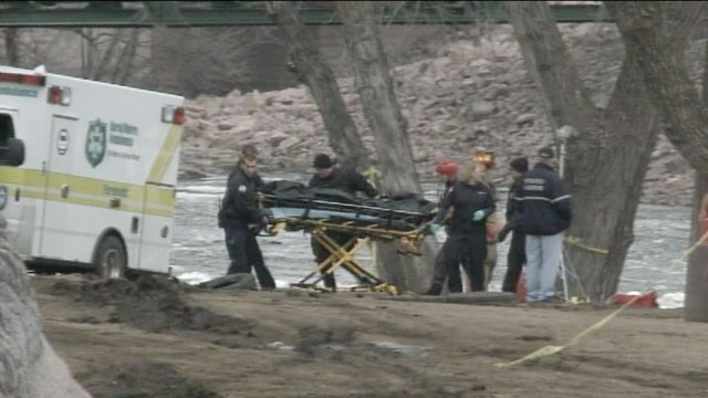 PHOTO: A body is recovered from a river in Sioux Falls, South Dakota, where a teenage girl and a man are missing after jumping into the icy waters to save a six-year-old boy on March 14, 2013.