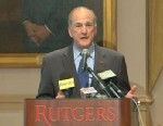 PHOTO: Rutgers President Robert L. Barchi spoke to media on April 5, 2013 about the firing of mens basketball coach Mike Rice.