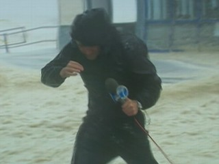 Watch: TV Reporters Battle Hurricane Sandy