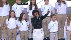 "VIDEO: Elementary school students join Jennifer Hudson in singing ""America the Beautiful."""