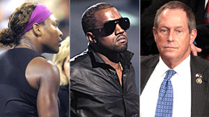 PHOTO Serena Williams is shown on Sept. 12, 2009, left,  Kanye West is shown on Sept. 13, center,  and Rep. Joe Wilson, R-S.C, is shown on Sept. 9, 2009.
