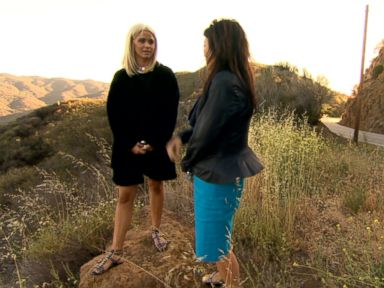 Jordyn Ladell, left, returns with ABCs Juju Chang, right, to the canyon outside of Los Angeles where she claims Cameron Thor allegedly sexually assaulted her.