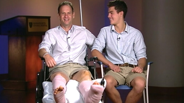 "PHOTO: Chris and J.J. Myers appear on ""Good Morning America, August 1, 2012. Chris Myers, a father of two, was pulled under the water by what is believed to be a shark off the coast of Ballston Beach in Truro, Mass."