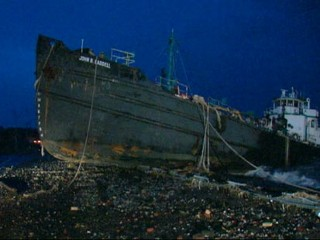 Tanker Run Aground by Superstorm