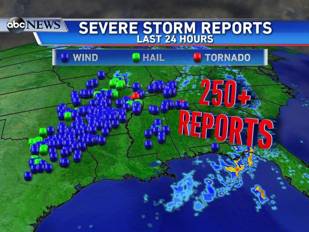 PHOTO: More than 250 reports of severe weather over the past 24 hours - most of those being damaging wind.