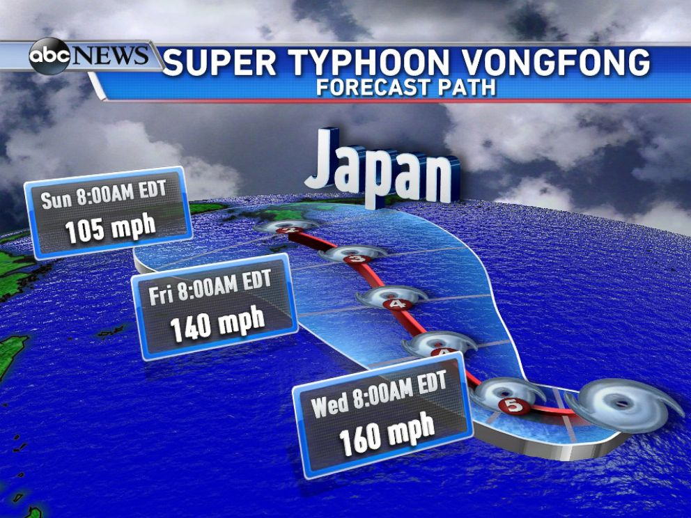 PHOTO: Here is the forecast path for Super Typhoon Vongfong.