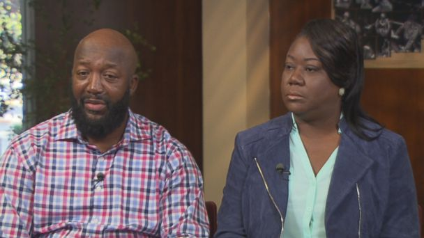 Trayvon Martin's parents Tracy Martin (left) and Sybrina Fulton (right) are seen here during an interview with
