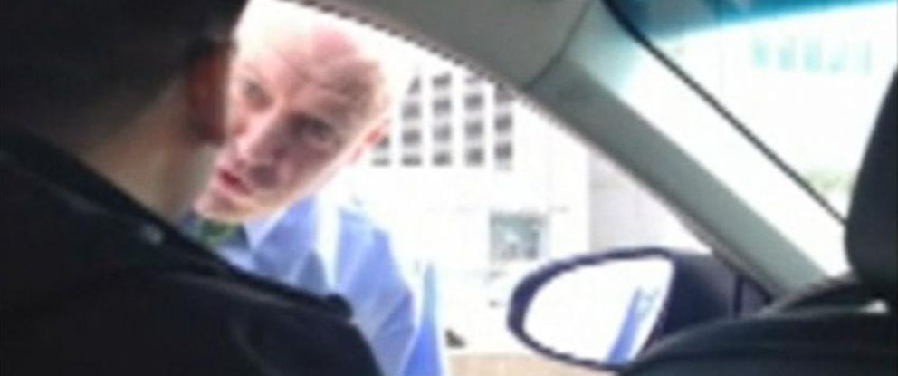 PHOTO: This still from a video taken by Sanjay Seth shows a police detective berating an Uber driver in New York City.
