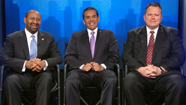 PHOTO: Mayors Villaraigosa, Nutter and Smith, (l-r), in D.C. for the U.S. Conference of Mayors, Jan. 18, 2012.