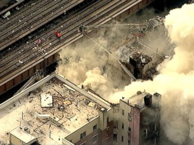 PHOTO: A building collapsed in Harlem, New York on March 12, 2014.