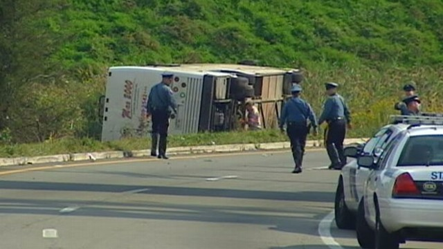 VIDEO: Rescue workers stand by after bus overturns in a off route 80.