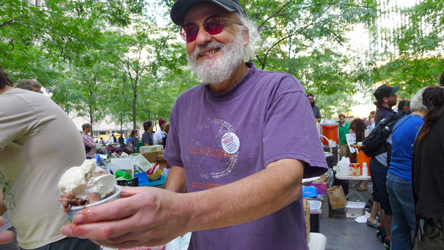 "PHOTO: Jeff Furman,Ben & Jerry's Chairman speaks to Abcnews.com at ""Occupy Wall Street"", as he scoops free ice cream, Zuccotti Park, New York, NY, Oct. 11, 2011."