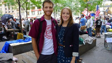 "PHOTO: A couple who runs, New York Socialist, group speaks to Abcnews.com at ""Occupy Wall Street"",  Zuccotti Park, New York, NY, Oct. 11, 2011."