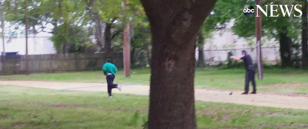 PHOTO: Video obtained by ABC News appears to show Officer Michael Slager shooting Walter Scott after a traffic stop in North Charleston, S.C. on April 4, 2015.