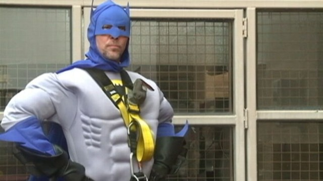 VIDEO: Window washers at St. Joseph?s Hospital don superhero outfits to boost patients spirits.