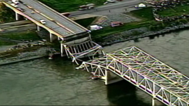 PHOTO: Serious questions of nations bridge infrastructure are being raised after the Washington State Bridge collapsed.