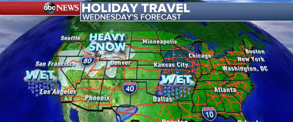 Your Thanksgiving Weather Forecast ABC News - Weather across the us map
