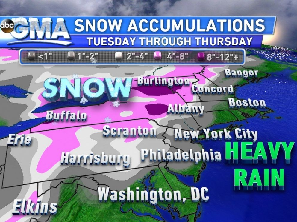 PHOTO: Snowfall Totals for the Northeast Through Thursday