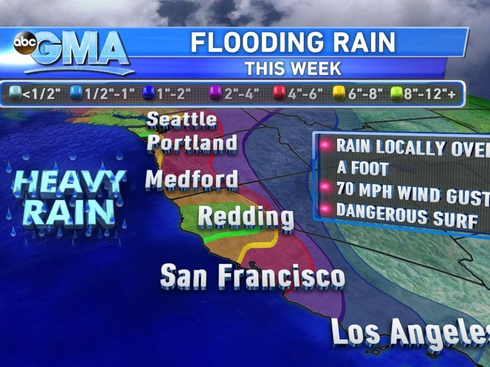 PHOTO: Rainfall through Friday for the West Coast.