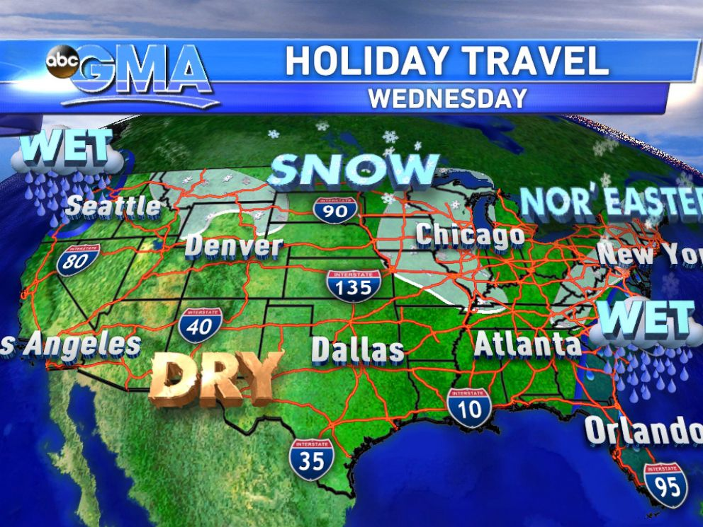 PHOTO: The weather travel forecast for today.