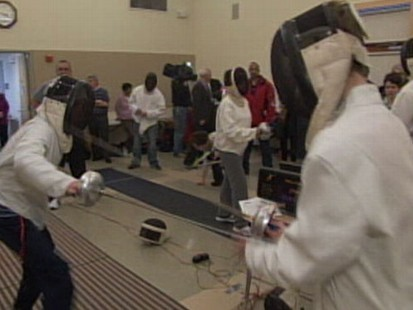 VIDEO: Two schools compete in the first-ever blind fencing tournament.
