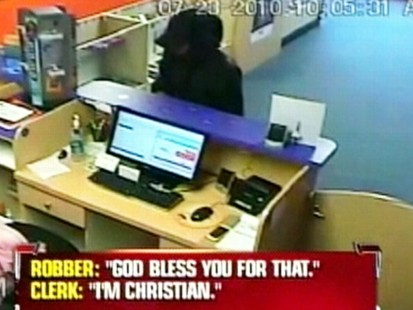 VIDEO: A Florida clerk says her Christian faith led to a robber to exit her store.