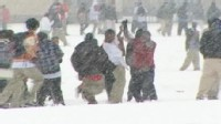 VIDEO: A friendly snowball fight at a Texas high school turned into an all-out brawl.