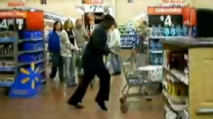 VIDEO: A Walmart customer performs the moonwalk in store aisles.