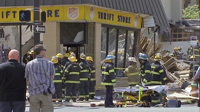 PHOTO: Firefighters are at the scene of a building collapse where as many as eight to 10 people may be trapped in Philadelphia, June 5, 2013.