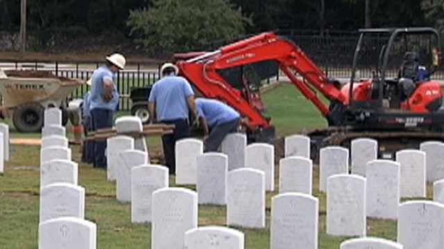 PHOTO: A body was exhumed from a Tennessee cemetery after a mans widow realized that her husband had been buried with the wrong set of dentures.