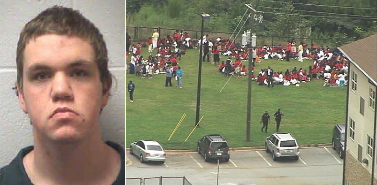 PHOTO: Michael Brandon Hill, seen here in this March, 2013 mugshot provided by the Henry County Sheriffs Office, was arrested after allegedly carrying an AK-47 and firing it in a Deaklb County, Georgia Elementary school (right) on August 20, 2013.