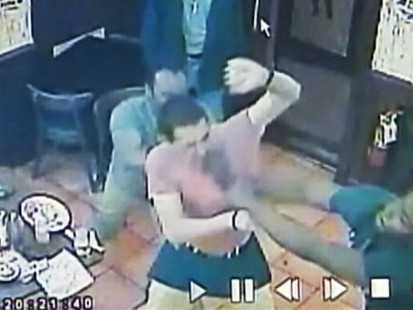 VIDEO: Waiter German Barros was beaten up by diners when he asked to see their IDs.
