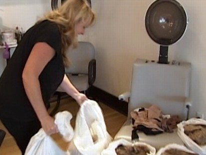 Video: Hair and panty hose are being collected to help trap oil.