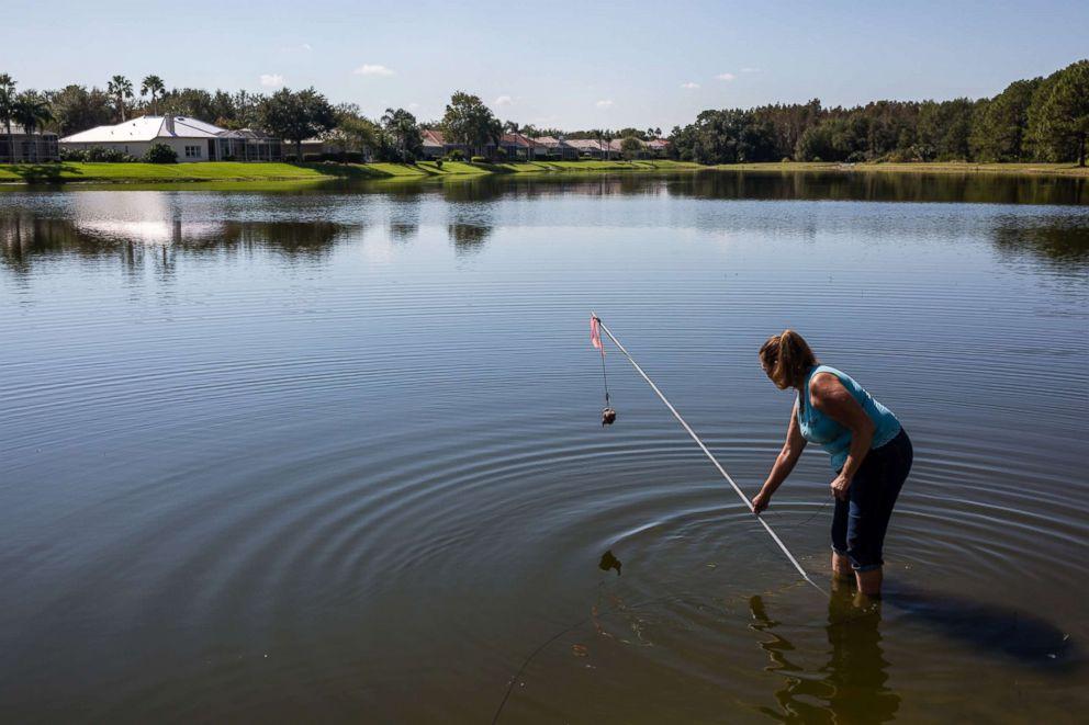 PHOTO: Julie Harter sets bait on a hook to trap an alligator.