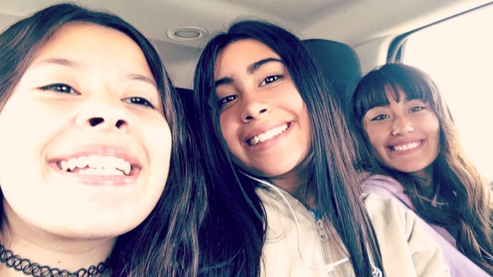 PHOTO: Alyssa Alcaraz, center, poses with cousin, Lily Lopez, right, and her sister, Mariah.
