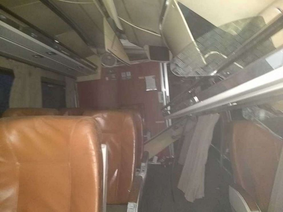 see photos taken from inside the wrecked amtrak train in washington state abc news